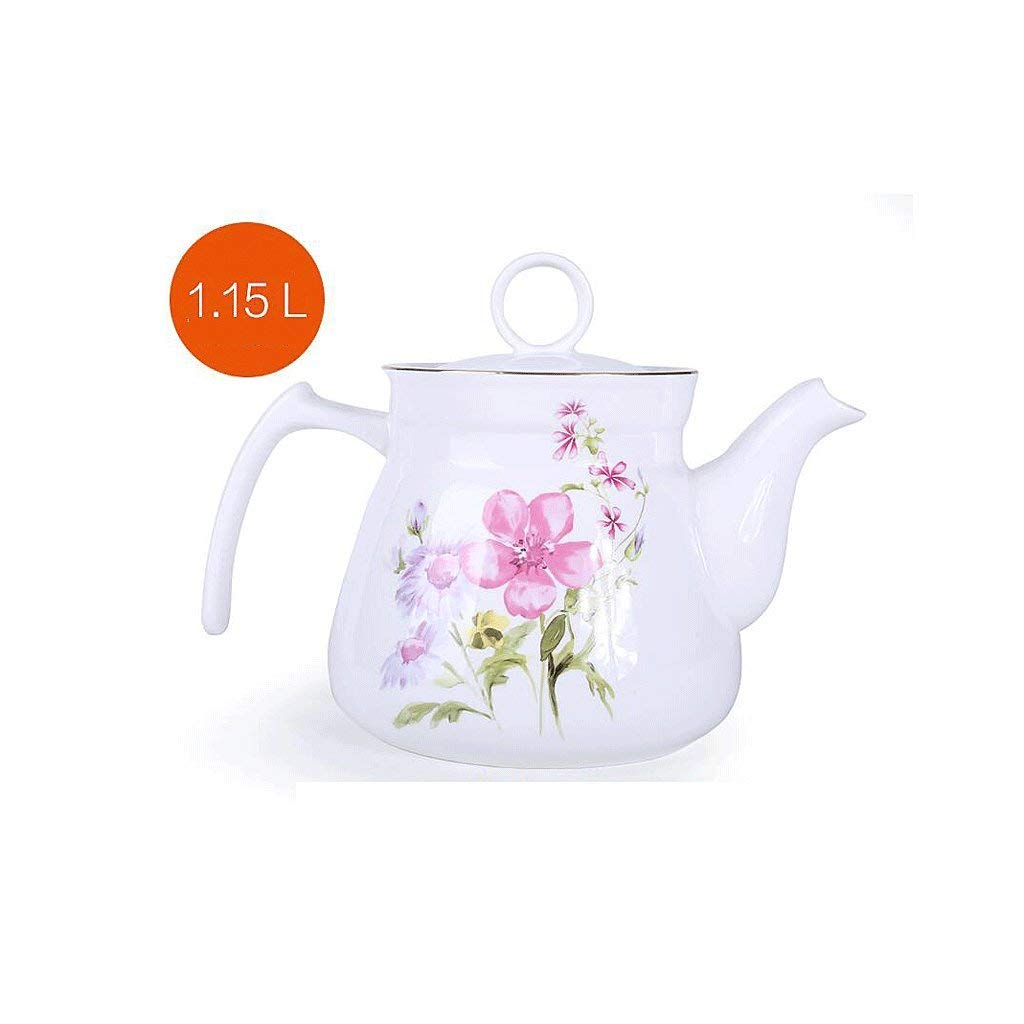 Exquisite Tea Cups Saucers Set Set Coffee Cup Ceramics Teapot Heat-Resistant High Capacity Single Pot Cold Water Household Large Cold Water Bottle Hot Water Bottle Tea Pot 1125ML by Kinue (Image #1)