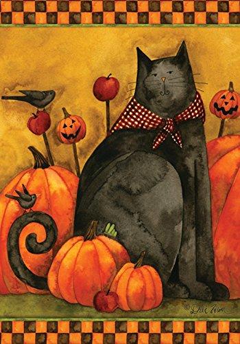 Toland Home Garden Folk Cat 28 x 40 Inch Decorative Halloween Kitty Pumpkin House Flag -