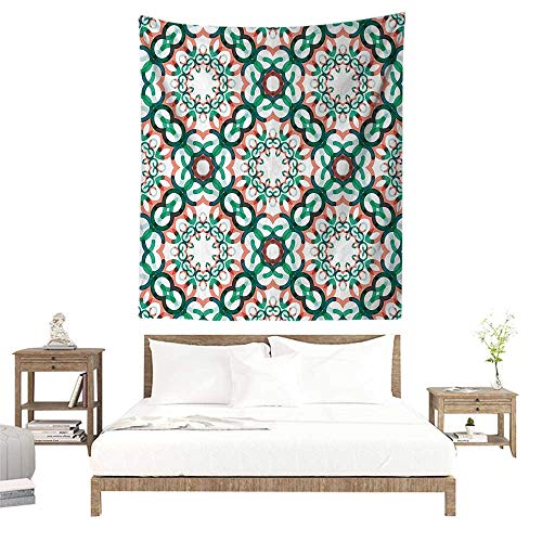 Tapestry Wall Hanging,Circle Decor,Round Shapes Made of Short Lines Geometric Decorative Pattern,Coral Jade and Forest Green W32 x L32 inch Art Print Mural for Bedroom Living Room