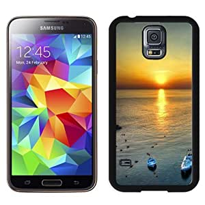 New Beautiful Custom Designed Cover Case For Samsung Galaxy S5 I9600 G900a G900v G900p G900t G900w With Sunset At Sea Phone Case