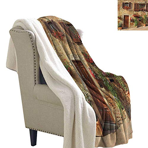 (AndyTours Baby Blanket Tuscan Mediterranean Architecture Machine Washable and Drier Safe W59 x L78)