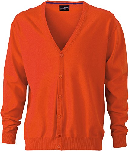 Men's Cardigan with Dark Orange Orange Neck Cardigan Men's V V Neck E1qtwxFT