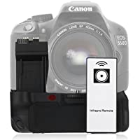 Powerextra BG-E8 Battery Grip for Canon EOS 550D/600D/650D/700D Rebel T2i/T3i/T4i/T5i SLR Cameras With Infrared Remote Control Work with 6 AA batteries or 2 LP-E8 Li-ion batteries