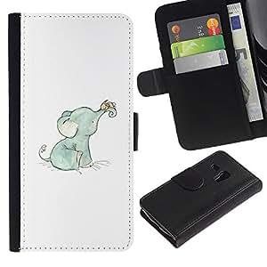 Elefante dulce del bebé azul blanco azul- la tarjeta de Crédito Slots PU Funda de cuero Monedero caso cubierta de piel ParaSamsung Galaxy S3 MINI i8190 (NOT S3)