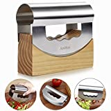 Mezzaluna Chopper Mezzaluna Knife Stainless Steel Double Blade with Protective Wooden Storage Holder by AmHoo