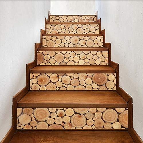 Fandhyy Registros Apilados 3D Patrón De Madera Azulejo De La Pared Escaleras Pegatinas Extraíble PVC Etiqueta De La Pared Impermeable Mural Cartel para La Habitación Escalera 6 Unids/Set 18X100 Cm: Amazon.es: Hogar