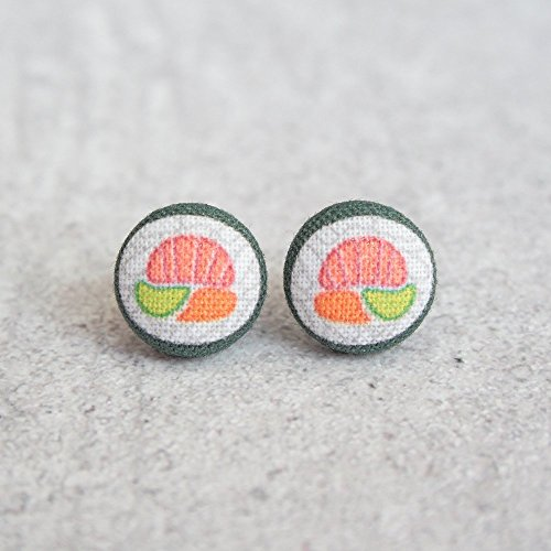 Sushi Conveyed Fabric Button Earrings