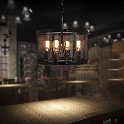 JINGUO Lightint Adjustable Metal Pendant Lights Lamp Chandelier Hanging Ceiling Lights Fixture with 4 Light in Industrial Vintage Style with Drum Shade for Indoor Restaurant Barn Warehouse Black