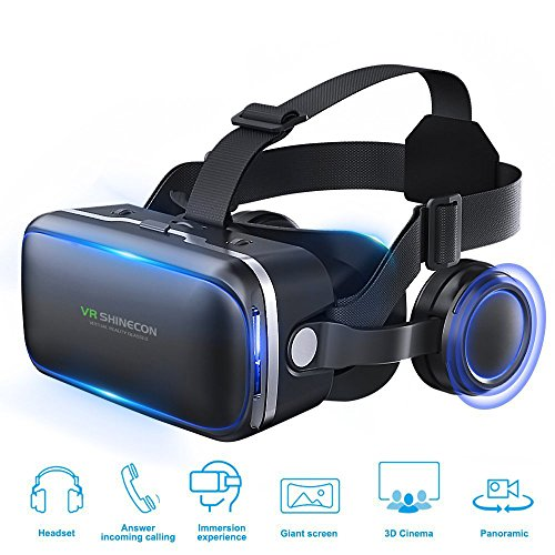 3D VR Headset Virtual Reality Glasses 360 Panoramic with Built-in Stereo Headphones,VR Headset for iPhone X,iPhone 8/8 Plus,iPhone 7/7 Plus,Samsung Galaxy S8 S7 edge,Google Nexus and ios & Android