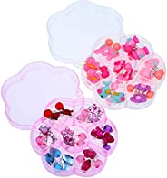 TOYMYTOY Little Girls Clip on Earrings Princess Play Earrings with 2 Box for Kids Birthday Gift,14 Pairs