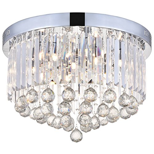 Cheap Modern Clear Crystal Raindrop Round Chandelier Lighting Flush Mount LED Ceiling Light Fixture Lamp for Dining Room Bathroom Bedroom Livingroom 9 G9 Bulbs Required H10 in X D20 in