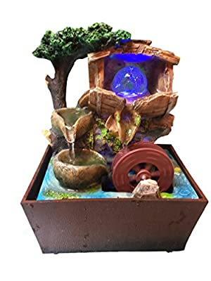 Tabletop Water Fountain with LED Lights 8 Inch Tall Decorative Sculpture with water well (2)