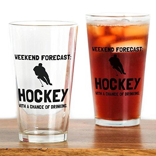 CafePress Weekend Forecast Hockey Pint Glass, 16 oz. Drinking Glass