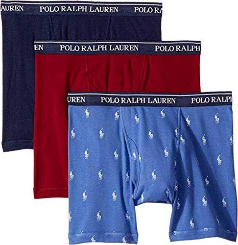 Polo Ralph Lauren Men's 3-Pack Boxer Brief (Large, Indigo Sky Blue/Burgundy Sienna/Cruise -