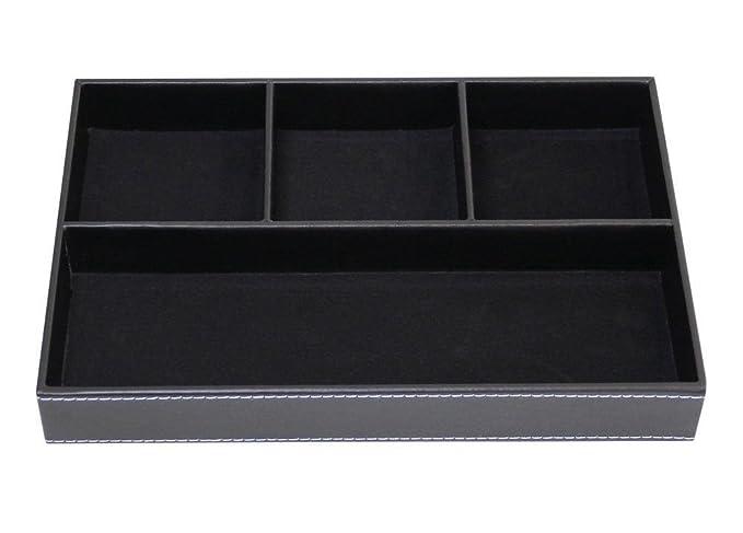 Artikle Leather Corporate Leather Desktop Organizer - Black Flat 4-Slot