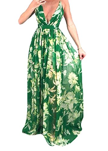 Backless Swing Chiffon Women Backless Green Dress Sling Beach Long Coolred pwH5qFnH