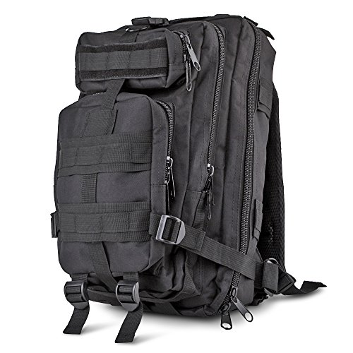 Flexzion Tactical Backpack (Black) Outdoor Military Unisex Rucksack Travel Molle Daypack Bag 30 L Capacity 600D Nylon for Camping Hiking Hunt Trekking with Multi Zippered Pocket