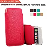 IPhone 6 6S Plus 5.5 Sleeve , [ ULTRA SLIM ] Elastic Pull Strap , Synthetic Leather Protective Sleeve Pouch Cover Case , Professional Executive Case Design . - Pink