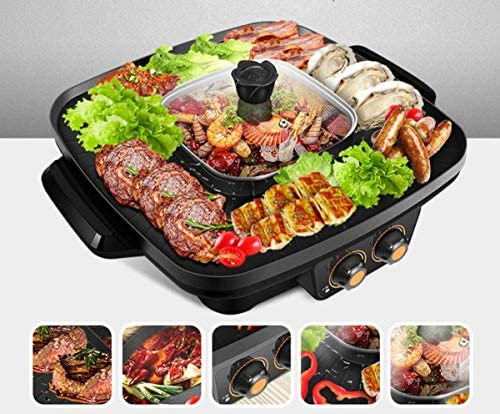 Barbecue électrique multifonction Hot Pot coréen style BBQ Poke Hot Pot antiadhésifs puissant Stovetop Grill Pot double