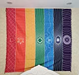 Neasyth 7 Chakra Tapestry Mexico Rainbow Chakras Towel Wall Window Hanging Tassel Beach Striped Sunscreen Shawl Thin 59in (Polyester Large 60 x 60 in)