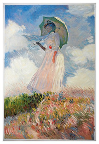 Woman with a Parasol Facing Left - Claude Monet hand-painted oil painting reproduction,Lady with Umbrella in sunlight illuminating landscape