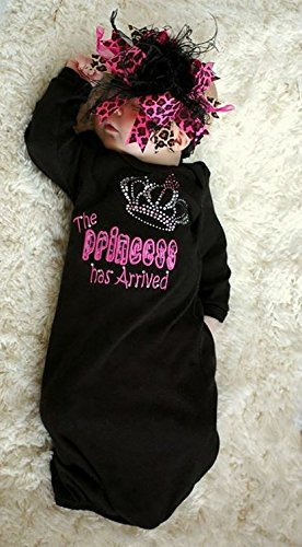 The Princess Has Arrived Newborn Take Home Gown BLACK 0-3 mths ONLY