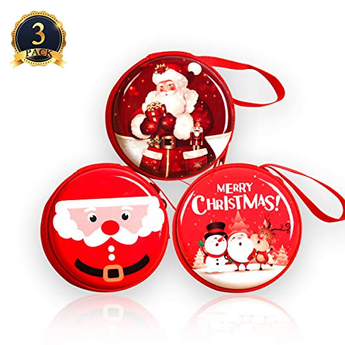 Ginfonr 3PCS Bag Santa Claus & Snowman Design for Holiday Party Favors and Decorations, Treats, Xmas Candy Goodie Bags Coin Purse