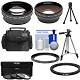 Bower FA-DC67A Adapter Ring for Canon PowerShot SX530, SX540 & SX60 HS Camera + .45x Wide Angle & 2x Tele Lenses + 3 UV/CPL/ND8 Filters + Tripod + Case Kit