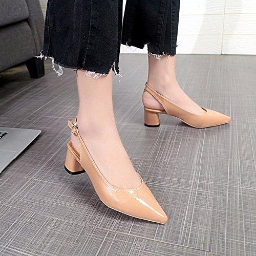 Xue Qiqi Sugerencia luz-pesadas con pequeños zapatos, de ninguna manera lograron mantenerse al margen para viaje y Baotou sandalias hembra Marrón claro