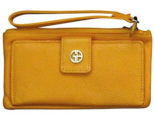Giani Bernini Orange Genuine Leather Double Compartment Wristlet Wallet