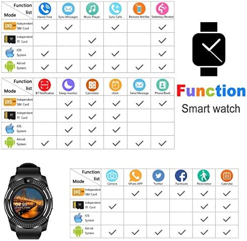 Pradory Smart Watch,Android Smartwatch Touch Screen Bluetooth Smart Watch for Android Phones Wrist Phone Watch with SIM Card Slot & Camera,Waterproof Sports Fitness Tracker Watch for Men Women Black