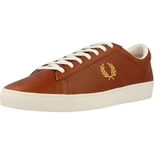 huge inventory timeless design available Fred Perry Spencer Leather Trainers Dark Tan 7 Dark Tan: Amazon.co ...