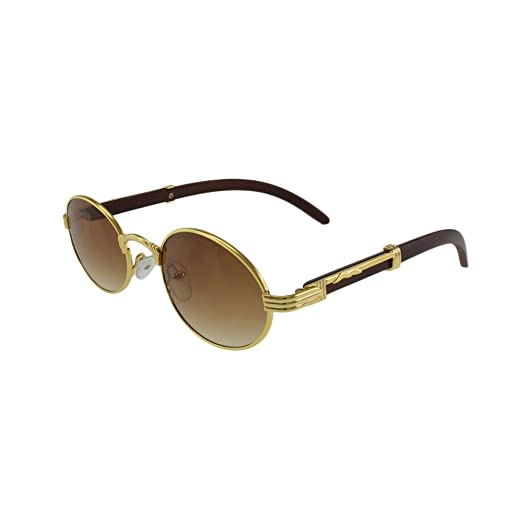 3c2cc984ff MQ Sunglasses - Huncho - Oval Shaped Sunglasses with Microfiber Pouch (Gold  Brown)