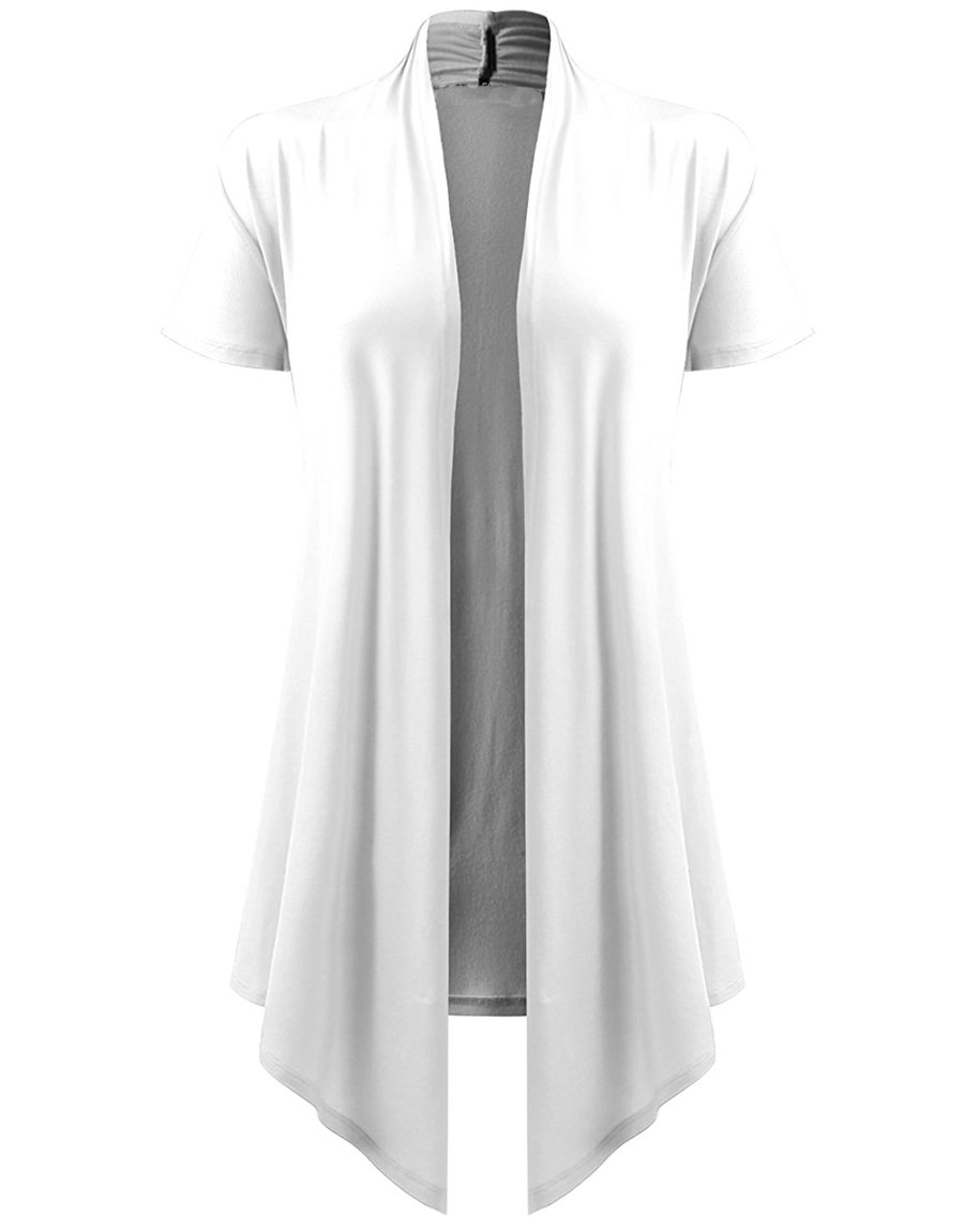 lymanchi Women Open Front Soft Cardigans Cover up Drape Short Sleeve Long Vests White L