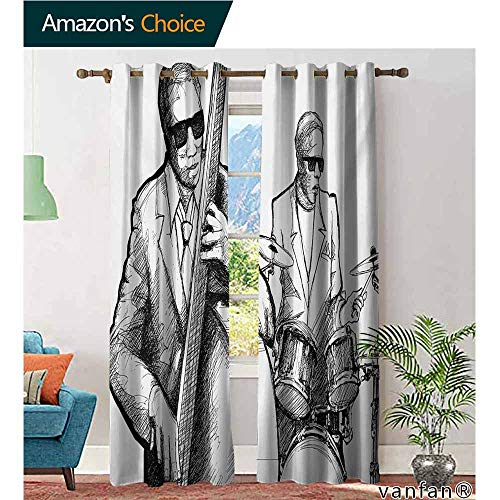 Big datastore Easy Care Privacy Protection Grommet Window Panels,Jazz MusicIllustration of a Jazz Band Musicians Playing Drum Music Concert Performance,2 Pieces,Black White,W84 xL96
