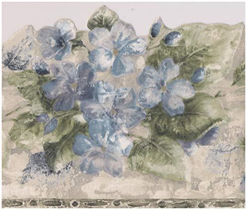 Blue Flowers Beige Vintage Floral Wallpaper Border Retro Design, Roll 15' x 6.5''