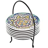 Signature Housewares Party Plates with Caddy, Moroccan Design, Set of 6