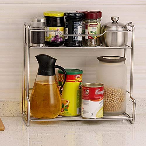 Shelf Storage Racks Pot Rack Storage Basket Shelf Baskets Kitchen Seasoning Storage Shelf Punch Free Stainless Steel Double Layer Storage Shelf ZHAOYONGLI by ZHAOYONGLI-shounajia (Image #2)