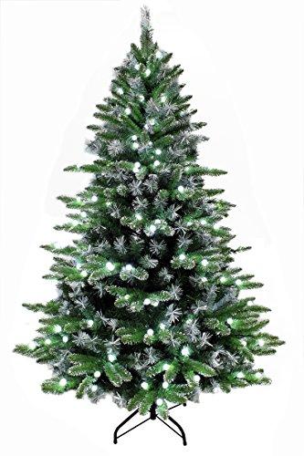 "Christmas tree/Pre-lit Christmas tree/Modern Frosted Fir Artificial Christmas Tree Pre-lit with Cool white ""Cat Eye"" LED bulbs (7ft)"
