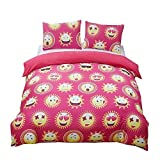 Magichome 3 PCS Pink Emoji Duvet Cover Sets Super Soft and Lovely Gift (Full)