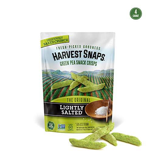 Harvest Snaps Green Pea Snack Crisps Lightly Salted, 3.3 oz (Pack of 4). Plant-based   Baked, never fried   Certified Gluten-Free