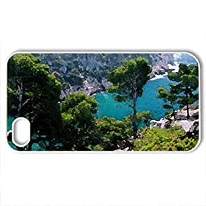 Azure Shore - Case Cover for iPhone 4 and 4s (Mountains Series, Watercolor style, White)