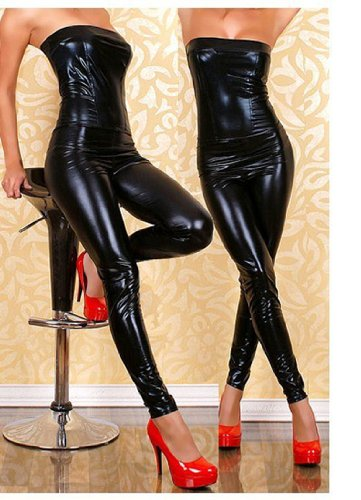 Club Costume Dress - Sexy&Goddess Slim piece strapless black leather pants, motorcycle girl costume, sexy night club clothing/Super Sexy Adult Black Low Strapless Leather-Like Dress PK09Black