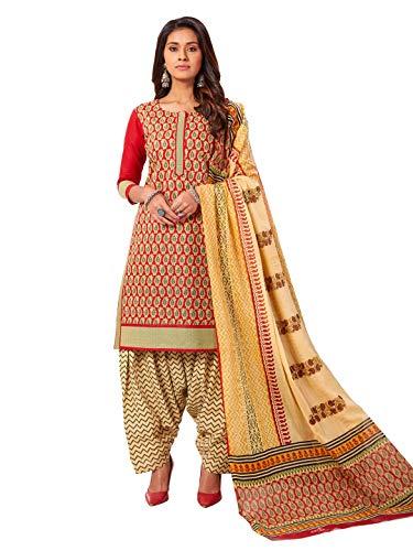 Jevi Prints Women's Cotton Stitched Patiyala Salwar Suit Set (SUIT_AP-4859_Red & Beige)
