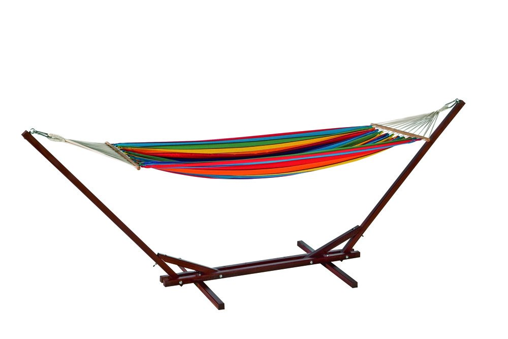 Bo Garden Maxiset Multicolor - Hängematte & Gestell Liegefläche 195x140cm Gestell 310cm 1 Person (max 120kg)