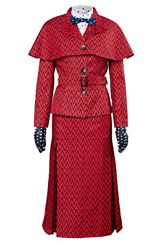 Mary Poppins Halloween Outfit (COSMOVIE Womens Mary Poppins Costume with Hat Halloween Cosplay Costumes Outfit Full)
