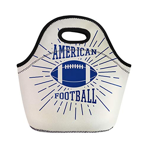 Semtomn Neoprene Lunch Tote Bag Ball Vintage Rugby and American Football Labels Emblems Abc Reusable Cooler Bags Insulated Thermal Picnic Handbag for Travel,School,Outdoors, Work