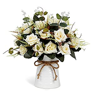 YILIYAJIA Artificial Rose Bouquets with Ceramics Vase Fake Silk Rose Flowers Decoration for Table Home Office Wedding 13
