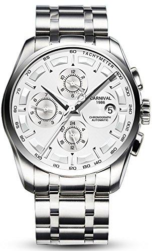 Mens Luxury 25 Jewels Automatic Movement Multifunctional Luminous Stainless Steel Waterproof Watches ()