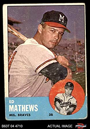 Amazoncom 1963 Topps 275 Eddie Mathews Milwaukee Braves